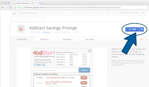 Install the KidStart Savings Prompt on Chrome - Step 1