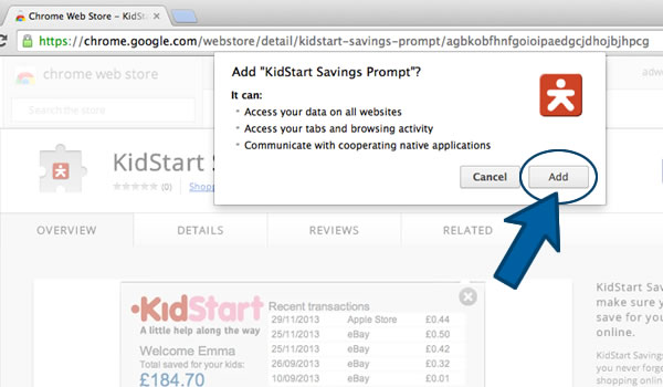 Install the KidStart Savings Prompt on Chrome - Step 2