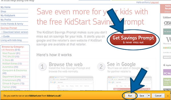 Install the KidStart Savings Prompt on Internet Explorer Step 1