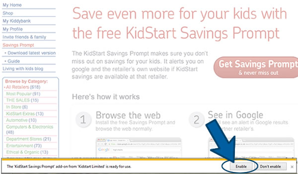 Install the KidStart Savings Prompt on Internet Explorer Step 6