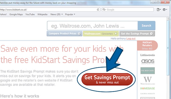 Install the KidStart Savings Prompt on Safari - Step 1