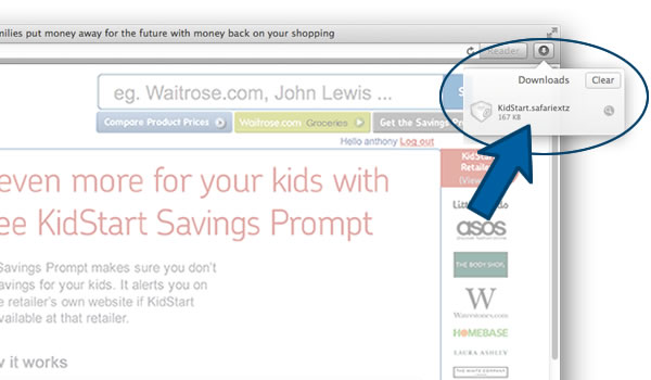 Install the KidStart Savings Prompt on Safari - Step 2