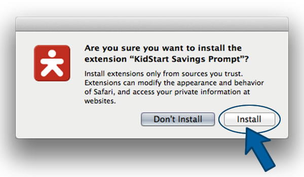 Install the KidStart Savings Prompt on Safari - Step 3
