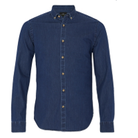 MOSS LONDON SLIM FIT BLUE SINGLE CUFF DENIM BUTTON DOWN CASUAL SHIRT - £35