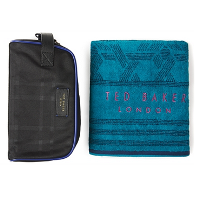 TED BAKER BLACK WASHBAG AND TOWEL GIFT SET - £49