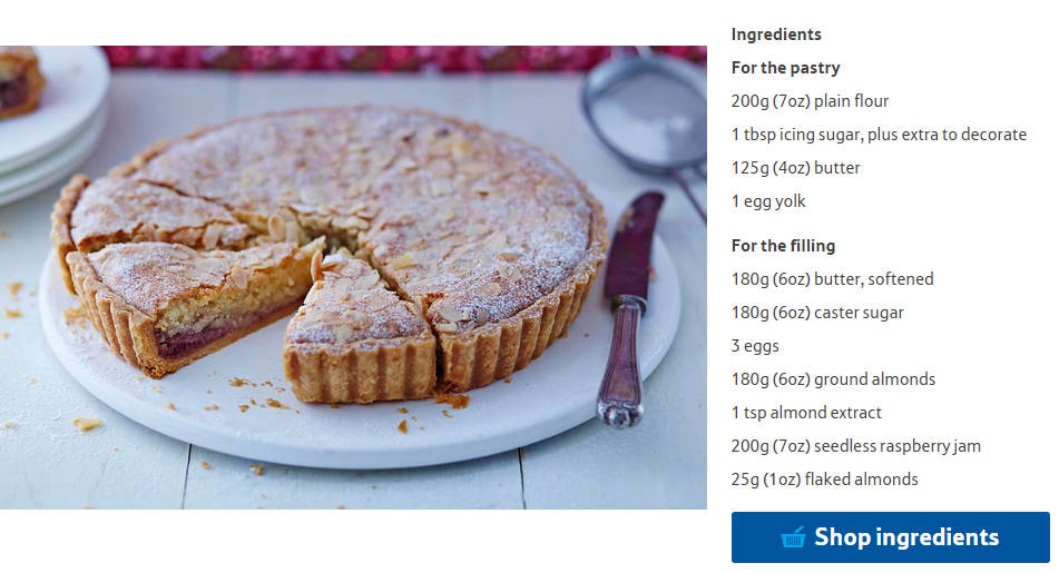 tesco Bakewell tart recipe