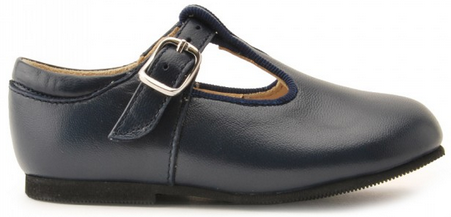 Jo II, Navy Blue Leather Buckle T-bar Classic Shoes