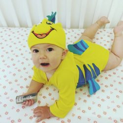 Baby girl dresses as flounder