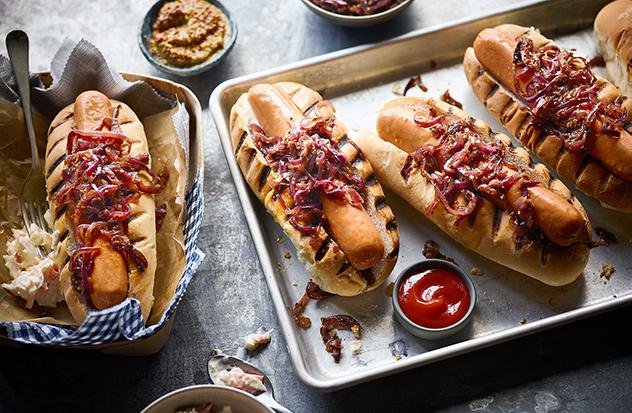 Caramelised onion hot dog recipe