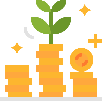 Visual metaphor representing financial growth through the depiction of a stack of coins with a beanstalk growing from them