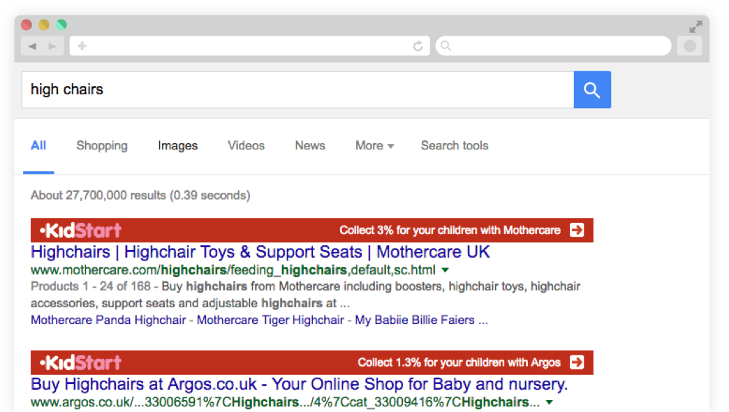Screenshot of user browing Google, with the KidStart Savings Prompt highlighting KidStart partner retailers